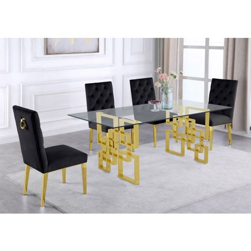 Kenza Glass Top Dining Table Set Gold Base