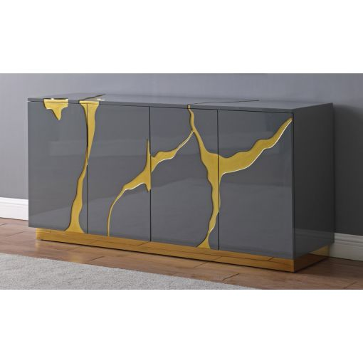 Lava Grey Lacquer Sideboard