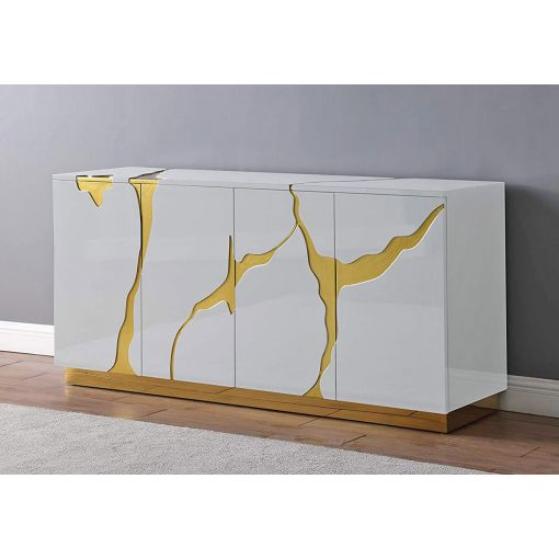 Lava White And Gold Sideboard