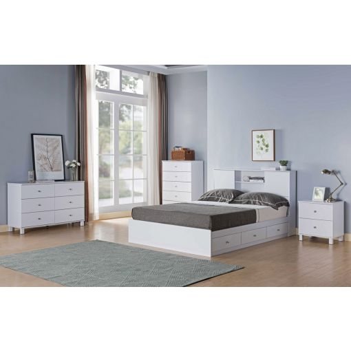 Lazer White Finish Bed With Drawers