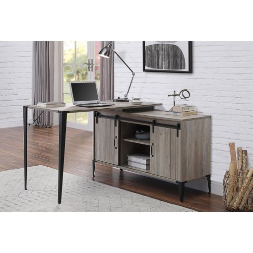 Lima Rustic Grey L-Shape Office Desk