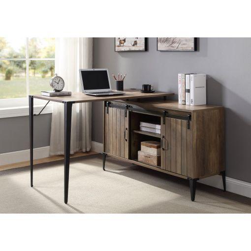 Lima L-Shape Office Desk Rustic Oak