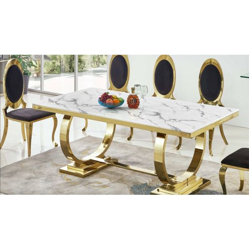 Lippa Marble Top Dining Table Gold Base