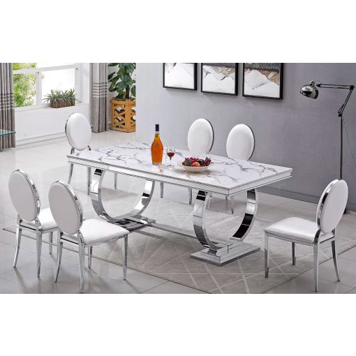 Lippa Modern Marble Top Dining Table
