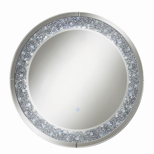 Logann Round Wall Mirror With LED Lights