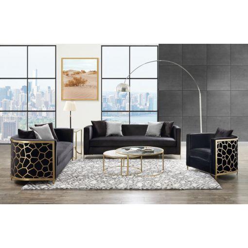 Malaga Black Velvet Sofa With Gold Accents