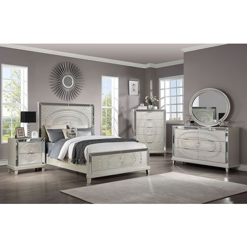 Manning Mirrored Bed Champagne Finish