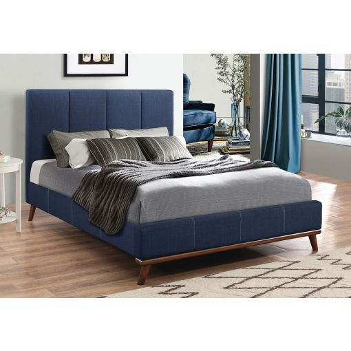Marji Blue Fabric Modern Platform Bed