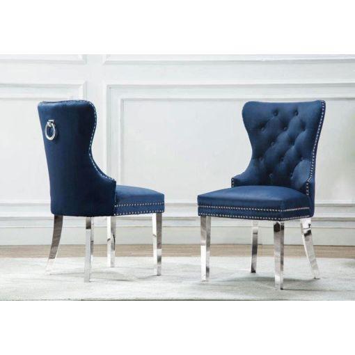 Marshall Navy Blue Velvet Chair