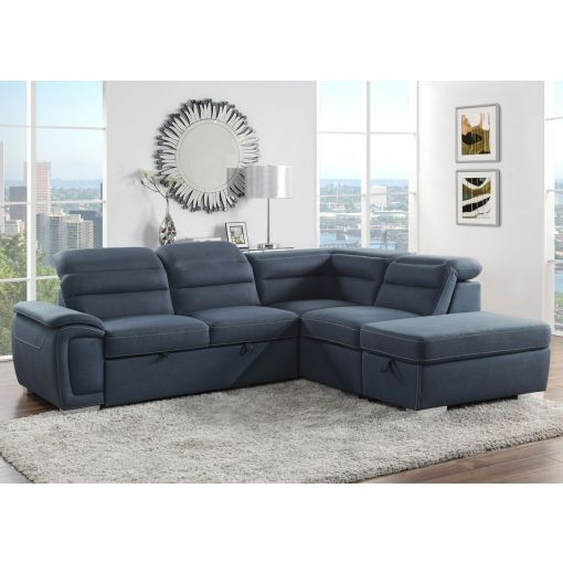 Maura Blue Fabric Sectional Sleeper With Storage