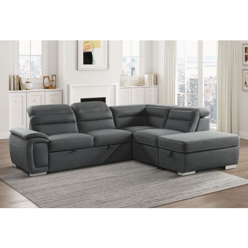 Maura Grey Sectional Sleeper With Storage