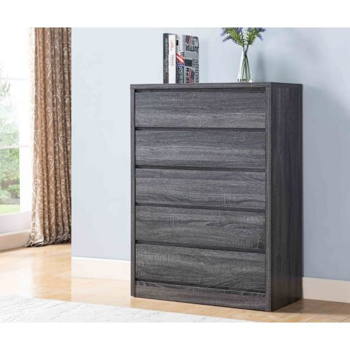 Menny Rustic Grey Five Drawer Chest