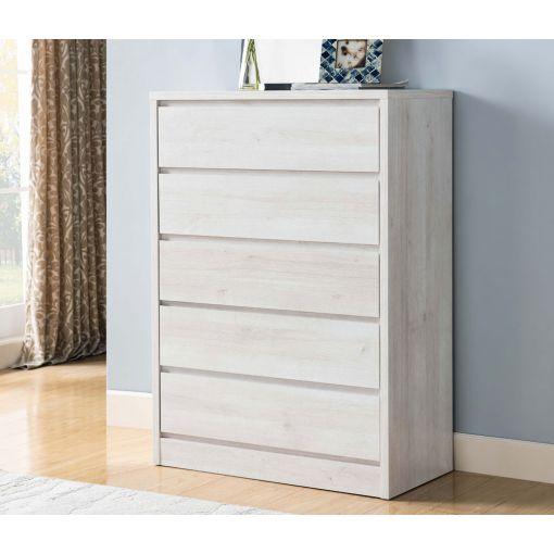 Menny White Oak Five Drawer Chest
