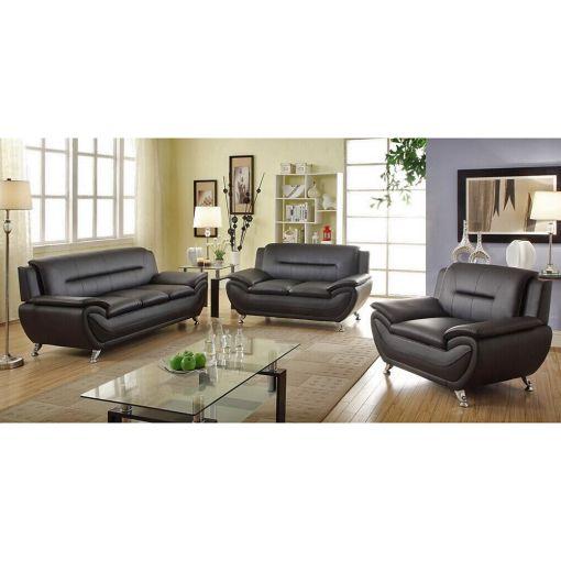 Deliah Modern Black Leather Sofa