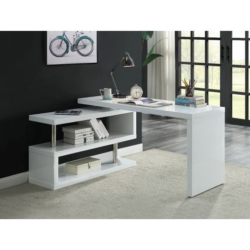 Mina White Desk With Folding Side