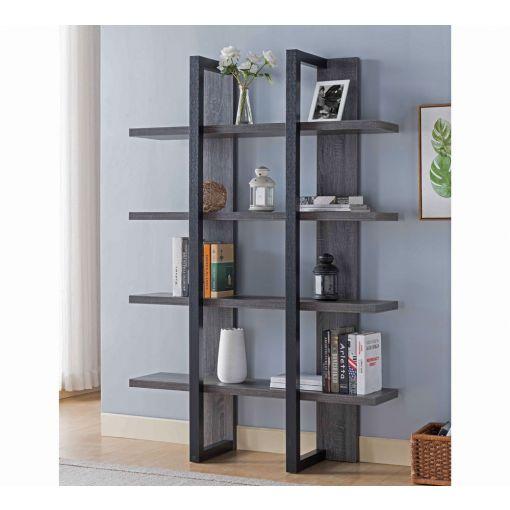 Miranda Rustic Grey Finish Bookcase