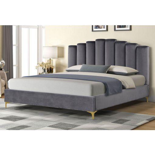 Nadia Grey Velvet Platform Bed