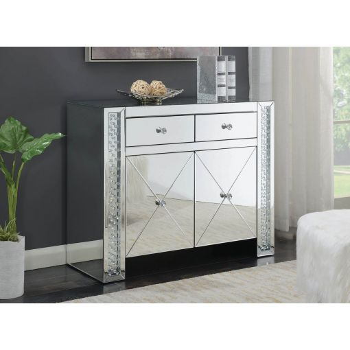 Nicci Mirrored Cabinet With Crystal Accents