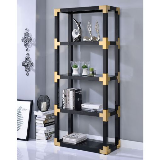 Nolen Black and Gold Bookcase Display