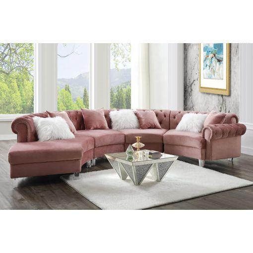 Ollon Pink Velvet Circular Sectional