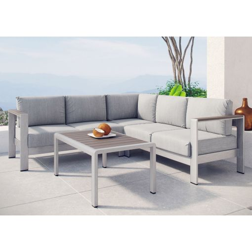 Omnia Grey Outdoor Sectional Sofa With Table