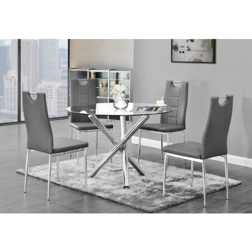 Oradell Round Glass Top Dining Table Set