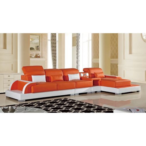 Ritz Orange and White Modern Sectional