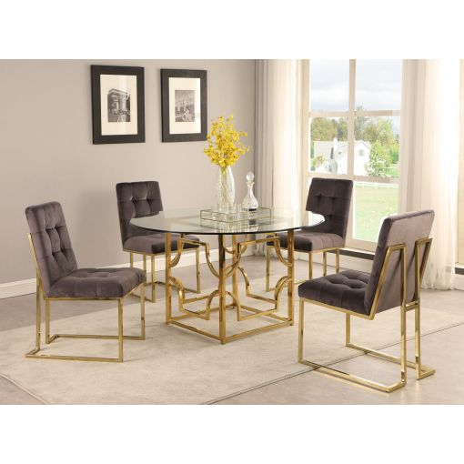 Orchid Gold Finish Dining Table Set