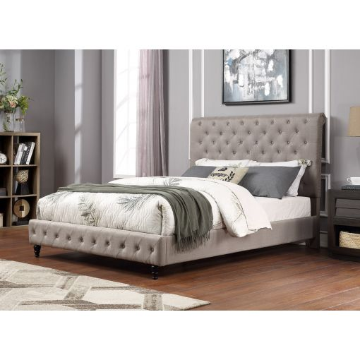Orsen Grey Linen Upholstered Bed