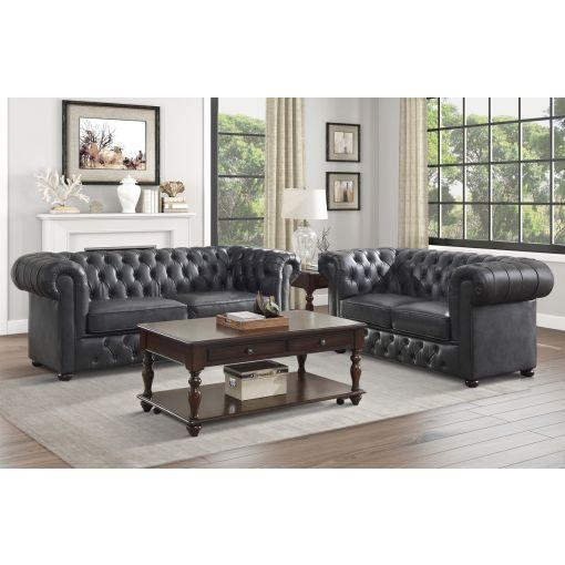 Paris Grey Leather Chesterfield Sofa Set