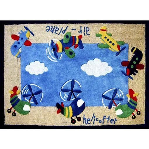 Planes Kids Room Hand Tufted Rug