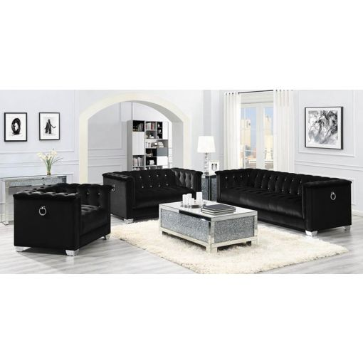 Prague Black Velvet Sofa Crystal Tufted
