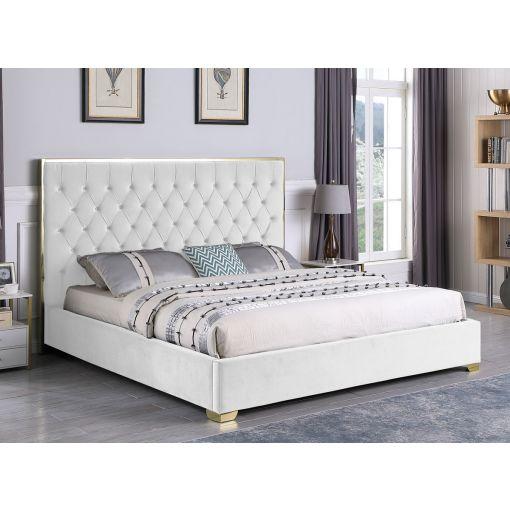 Prague White Velvet Fabric Bed