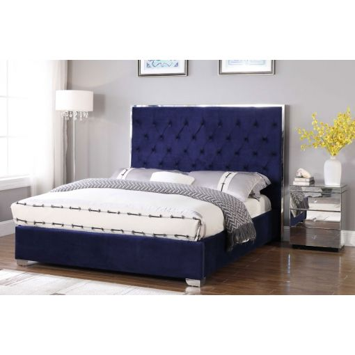 Prague Bed Navy Blue Tufted Velvet