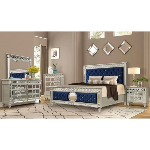 Regent Silver Finish Mirrored Bed