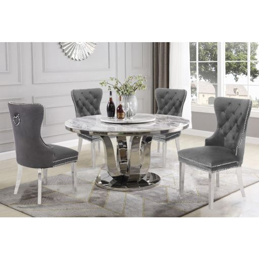 Reyna Round Marble Top Dining Table