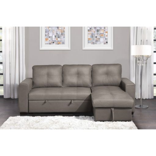 Richie Taupe Microfiber Sectional Sleeper