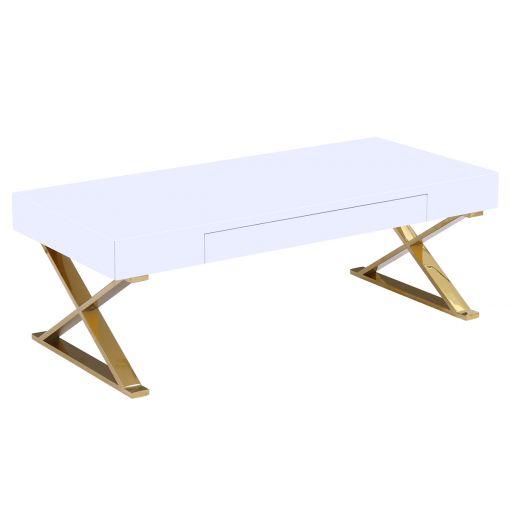 Roreti White Coffee Table Gold Legs