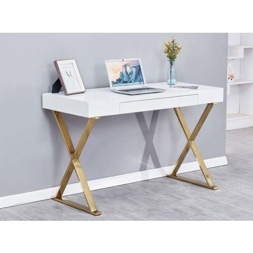 Roreti Writing Desk Gold Finish Base