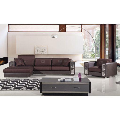 Rouge Burgundy Modern Sectional Sofa Set