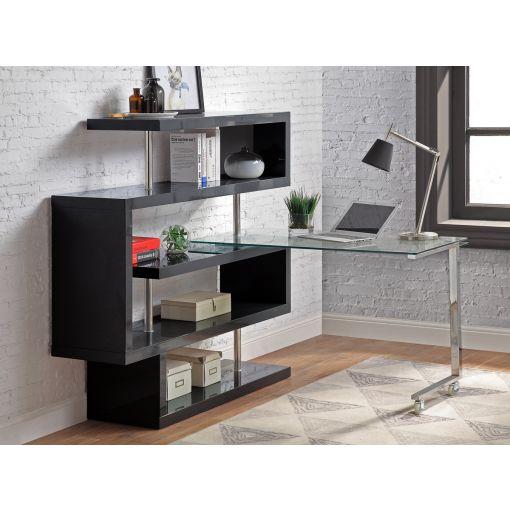 Rowan Black Bookcase Swivel Desk
