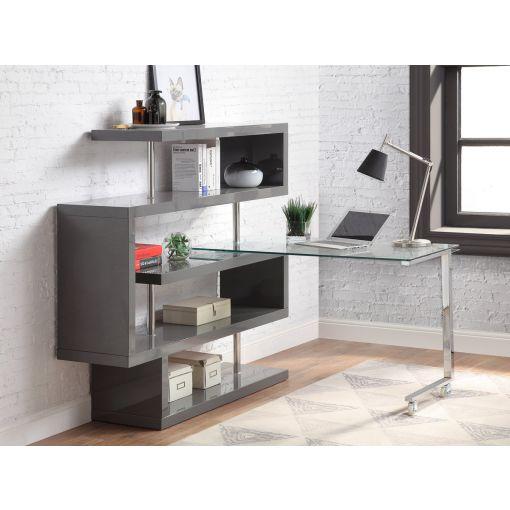 Rowan Grey Bookcase Swivel Desk