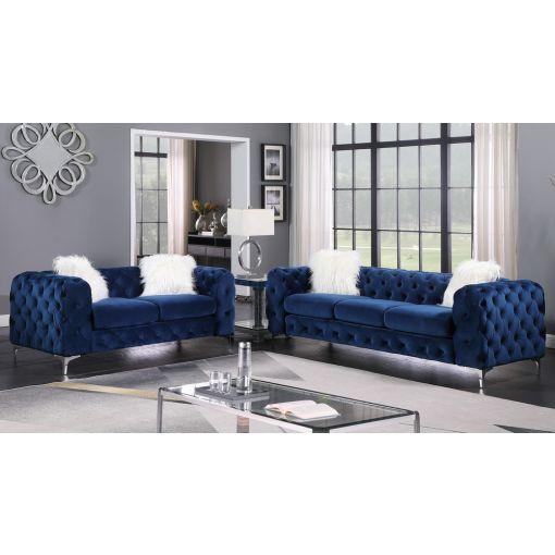 Royce Navy Blue Velvet Sofa Set