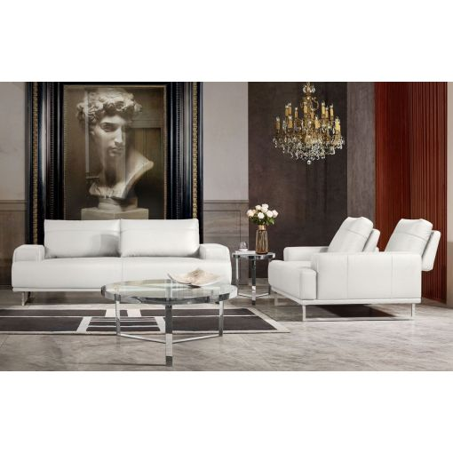 Bradly Modern White Leather Sofa