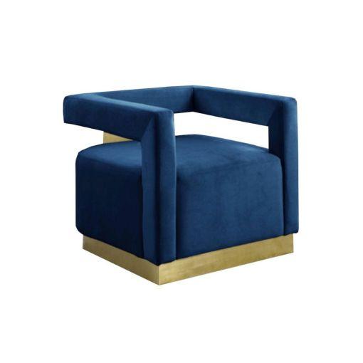 Saba Blue Velvet Accent Chair Gold Base