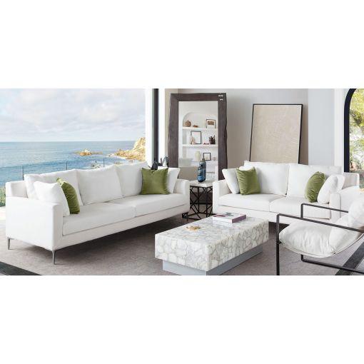Gilmore White Linen Modern Sofa