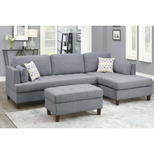 Serenity Grey Linen Sectional Sofa