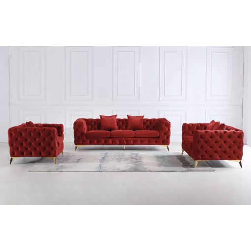 Sheila Red Tufted Velvet Sofa With Gold Legs