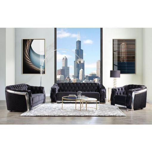 Shiva Black Velvet Sofa With Chrome Frame