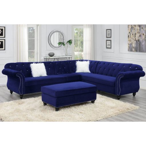 Spangler Velvet Fabric Chesterfield Sectional